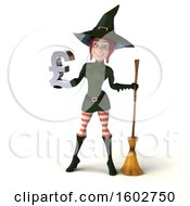 Clipart Of A 3d Sexy Green Witch Holding A Lira On A White Background Royalty Free Illustration by Julos