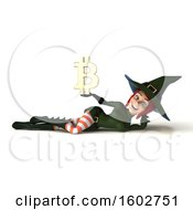 Clipart Of A 3d Sexy Green Witch Holding A Bitcoin Symbol On A White Background Royalty Free Illustration by Julos