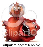 3d Red T Rex Dinosaur Holding A Fish Bowl On A White Background