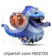 Clipart Of A 3d Blue T Rex Dinosaur Holding A Fish Bowl On A White Background Royalty Free Illustration