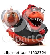 Clipart Of A 3d Red Business T Rex Dinosaur Holding A Fish Bowl On A White Background Royalty Free Illustration
