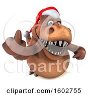 Clipart Of A 3d Brown Christmas T Rex Dinosaur Holding Up A Middle Finger On A White Background Royalty Free Illustration