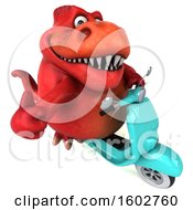 Clipart Of A 3d Red T Rex Dinosaur Riding A Scooter On A White Background Royalty Free Illustration