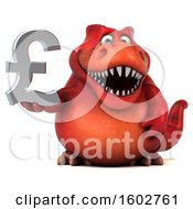 Clipart Of A 3d Red T Rex Dinosaur Holding A Lira On A White Background Royalty Free Illustration