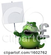 Clipart Of A 3d Green T Rex Dinosaur Holding A Lira On A White Background Royalty Free Illustration