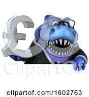 Clipart Of A 3d Blue Business T Rex Dinosaur Holding A Lira On A White Background Royalty Free Illustration