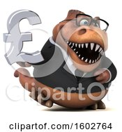 Clipart Of A 3d Brown Business T Rex Dinosaur Holding A Lira On A White Background Royalty Free Illustration