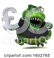 Clipart Of A 3d Green Business T Rex Dinosaur Holding A Lira On A White Background Royalty Free Illustration