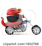 3d Red Business T Rex Dinosaur Biker Riding A Chopper Motorcycle On A White Background