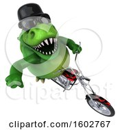 3d Green T Rex Dinosaur Riding A Scooter On A White Background