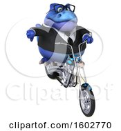 3d Blue Business T Rex Dinosaur Biker Riding A Chopper Motorcycle On A White Background