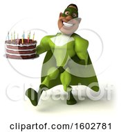Poster, Art Print Of 3d Buff Black Male Green Super Hero Holding A Cake On A White Background