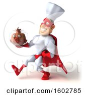 3d White Male Super Chef In A Red And White Costume Holding A Fish Bowl On A White Background