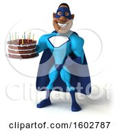 Poster, Art Print Of 3d Buff Black Male Blue Super Hero Holding A Birthday Cake On A White Background