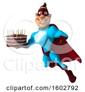August 16th, 2018: Clipart Of A 3d Buff White Male Yellow And Blue Super Hero Holding A Birthday Cake On A White Background Royalty Free Illustration by Julos
