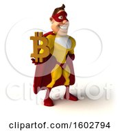 August 16th, 2018: Clipart Of A 3d Buff White Male Yellow And Red Super Hero Holding A Bitcoin Symbol On A White Background Royalty Free Illustration by Julos
