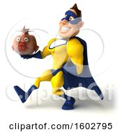 August 16th, 2018: Clipart Of A 3d Buff White Male Yellow And Blue Super Hero Holding A Fish Bowl On A White Background Royalty Free Illustration by Julos
