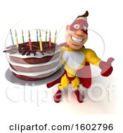 Poster, Art Print Of 3d Buff White Male Yellow And Red Super Hero Holding A Birthday Cake On A White Background