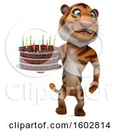 Poster, Art Print Of 3d Tiger Holding A Birthday Cake On A White Background