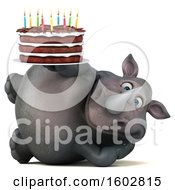 Poster, Art Print Of 3d Rhinoceros Holding A Birthday Cake On A White Background