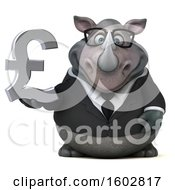 Clipart Of A 3d Business Rhinoceros Holding A Lira On A White Background Royalty Free Illustration by Julos
