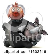 3d Business Rhinoceros Holding A Fish Bowl On A White Background