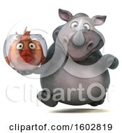 3d Rhinoceros Holding A Fish Bowl On A White Background