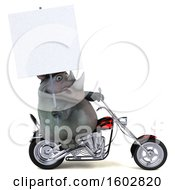 3d Rhinoceros Biker Riding A Chopper Motorcycle On A White Background