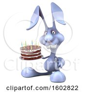 Poster, Art Print Of 3d Bunny Rabbit Holding A Birthday Cake On A White Background