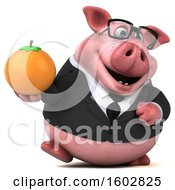 3d Chubby Business Pig Holding An Orange On A White Background