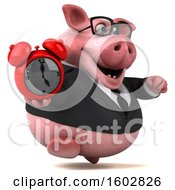 August 16th, 2018: Clipart Of A 3d Chubby Business Pig Holding An Alarm Clock On A White Background Royalty Free Illustration by Julos