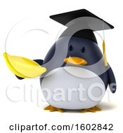 Poster, Art Print Of 3d Chubby Penguin Graduate Holding A Banana On A White Background