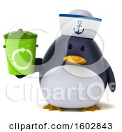 Clipart Of A 3d Chubby Penguin Sailor Holding A Recycle Bin On A White Background Royalty Free Illustration