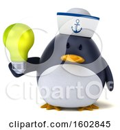 3d Chubby Penguin Sailor Holding A Light Bulb On A White Background