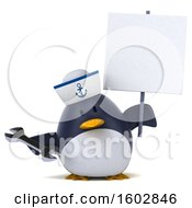 3d Chubby Penguin Sailor Holding A Wrench On A White Background