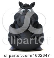 Clipart Of A 3d Chubby Black Horse On A White Background Royalty Free Illustration by Julos