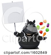 3d Chubby Black Business Horse Holding Produce On A White Background