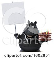 Poster, Art Print Of 3d Chubby Black Business Horse Holding A Birthday Cake On A White Background