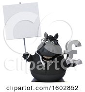 Clipart Of A 3d Chubby Black Business Horse Holding A Lira On A White Background Royalty Free Illustration