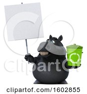 Clipart Of A 3d Chubby Black Horse Holding A Recycle Bin On A White Background Royalty Free Illustration