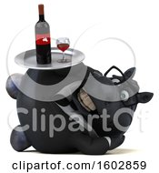 Poster, Art Print Of 3d Chubby Black Business Horse Holding Wine On A White Background