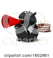 Clipart Of A 3d Chubby Black Business Horse Holding A Birthday Cake On A White Background Royalty Free Illustration