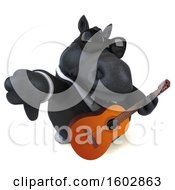 3d Chubby Black Business Horse Holding A Guitar On A White Background