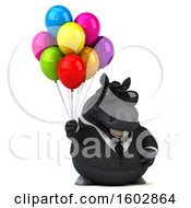 Poster, Art Print Of 3d Chubby Black Business Horse Holding Balloons On A White Background