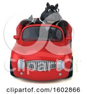 Poster, Art Print Of 3d Chubby Black Business Horse Driving A Convertible On A White Background