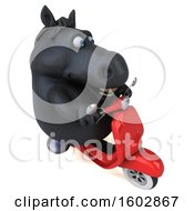 Clipart Of A 3d Chubby Black Horse Riding A Scooter On A White Background Royalty Free Illustration