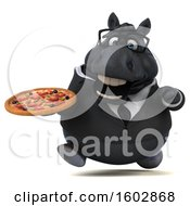 Poster, Art Print Of 3d Chubby Black Business Horse Holding A Pizza On A White Background