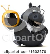 Clipart Of A 3d Chubby Black Business Horse Holding A Tv On A White Background Royalty Free Illustration