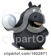 Clipart Of A 3d Chubby Black Horse Holding A Golf Ball On A White Background Royalty Free Illustration