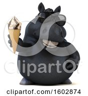Clipart Of A 3d Chubby Black Horse Holding A Waffle Cone On A White Background Royalty Free Illustration